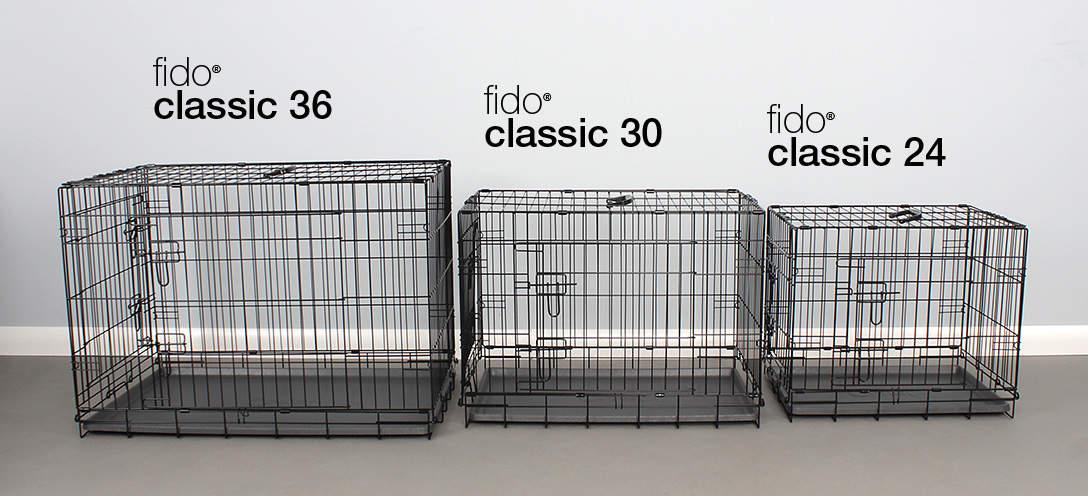 Die 3 Größen der Fido Classic Hundetransportbox nebeneinander